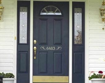 House numbers Decal - Front door decal - Front Door Welcome  - Vinyl Lettering