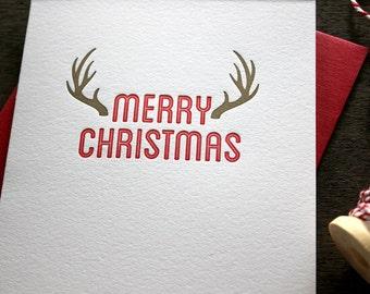 Letterpress Christmas Card - Antlers