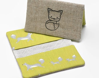 Business Card Case, Credit Card Holder, Fabric Gift Card Wallet in Organic Scampering Fox