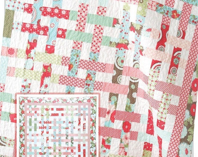 """Basket Case Quilt Pattern #116 by Cluck Cluck Sew - Simple Jelly Roll Quilt - 61"""" x 71"""" (w740)"""