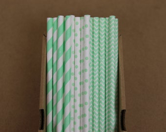 75 mint green striped, polka dots & chevron (PS0011/PS1011/PS2111) paper straws assortment - with printable DIY flags