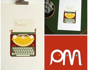 vintage typewriter illustration | i love you card | love retro typewriter print | romantic card | a5 illustration