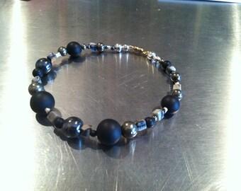 Jasper, Hematite, Pyrite, Onyx, and Sterling Silver Beaded Bracelet