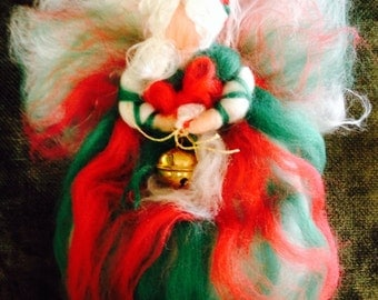 Fairy of Christmas in fairy wool. Waldorf. For every Christmas purchase a free waldorf angel for you