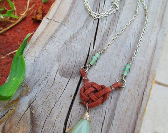 Necklace, Leather Celtic Knot and Green Jade Charm