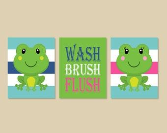 Kids Bathroom Art, Kids Bathroom Decor, Frog Bathroom Art, Frog Bathroom Decor, Wash Brush Flush, Bathroom Rules Set of 3 Prints Or Canvas
