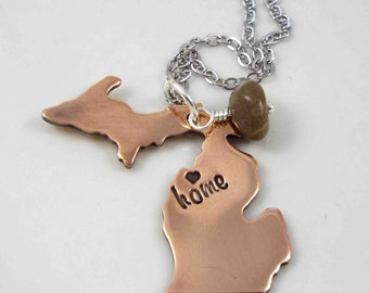 Michigan Necklace, Love Michigan, Michigan Jewelry, State of Michigan Necklace, Michigan Pendant, Michigan, Hand Stamped Necklace