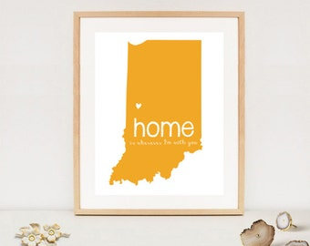 Digital Home is wherever im with you Map - Printable Indiana state map - DIY - DIGITAL FILE!