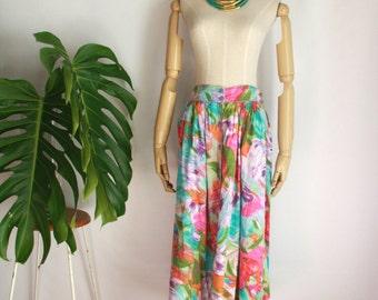 Abstract brush stroke tropical skirt. Floral midi skirt. Button up 90s skirt. Summer artist skirt. Boho neon skirt