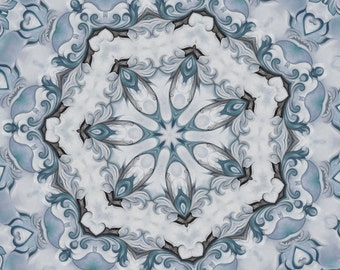 Giclee print - romantic blue grey cottage chic ornate swirl floral victorian scroll By Vaught fine art Oil painting