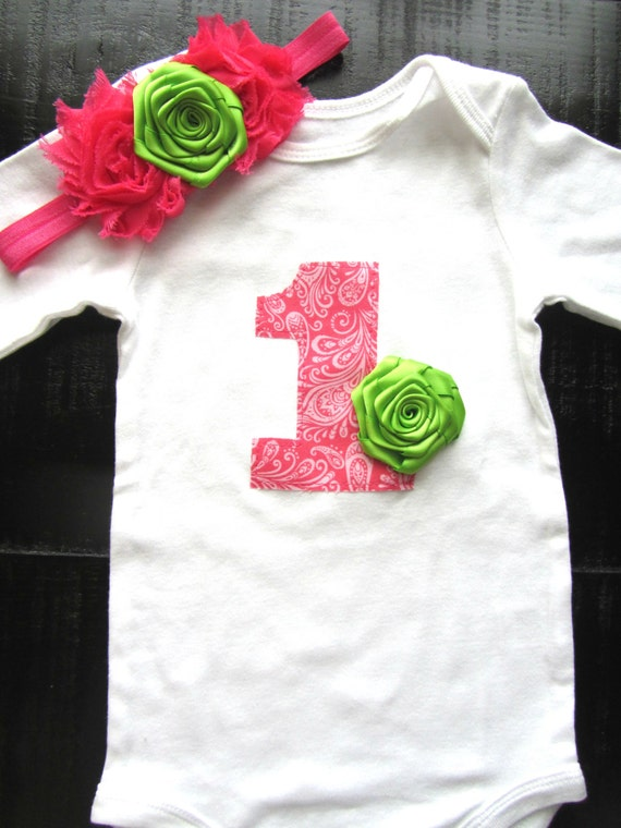 Girls First Birthday Outfit Pink Green 1st Birthday Baby