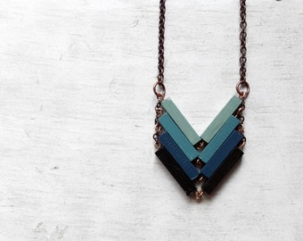 Wood Geometric Necklace // NOCTURNO / Minimal Jewelry / Indigo / Black Blue Mint Hand-Painted Necklace / Modern Necklaces / Chevron Necklace