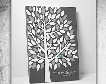 Wedding Tree Guest Book // Wedding Guest Book Tree // Personalized Wedding Print // Canvas or Matte Print 55-150 Guests //