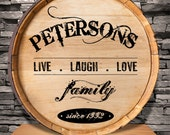 Family Wine Barrel Sign - Personalized Live Laugh Love wine barrel sign - Personalized Wine Sign - personalized Sign (1036)