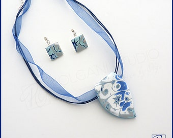 Set Necklace and Earrings - Soft Blue Denim White Polymer Clay Jewelry, Handmade Jewelry, Gift Idea, Modern Jewelry - Fresh.Ready to ship.