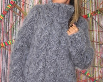 Hand Knit Mohair Sweater Cable Gray Fuzzy Turtleneck Jumper Pullover Jersey MADE to ORDER - by Extravagantza