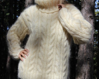 Hand Knit Mohair Sweater Cable White Fuzzy Turtleneck Jumper Pullover Jersey MADE to ORDER - by Extravagantza