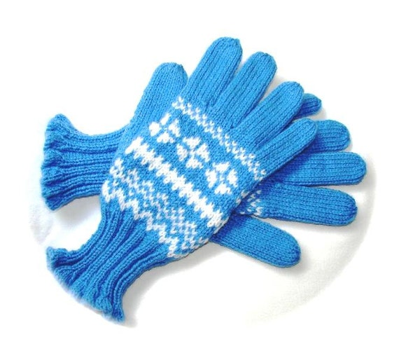 Fairisle gloves ladies hand knitted Norwegian pattern by ...