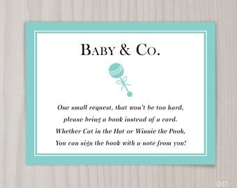 Baby amp co book request card baby shower bring a book invitation