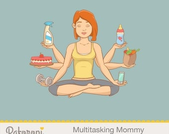Multitasking Mommy Illustration