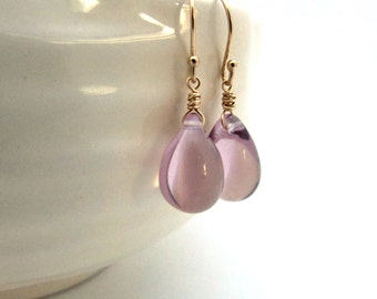 Lilac glass earrings,  Czech glass jewelry, lavender purple drop earrings, light amethyst teardrop earrings, gold fill glass drop jewelry