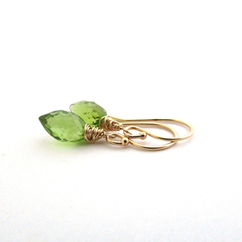 14K gold peridot earrings green gemstone jewelry. August