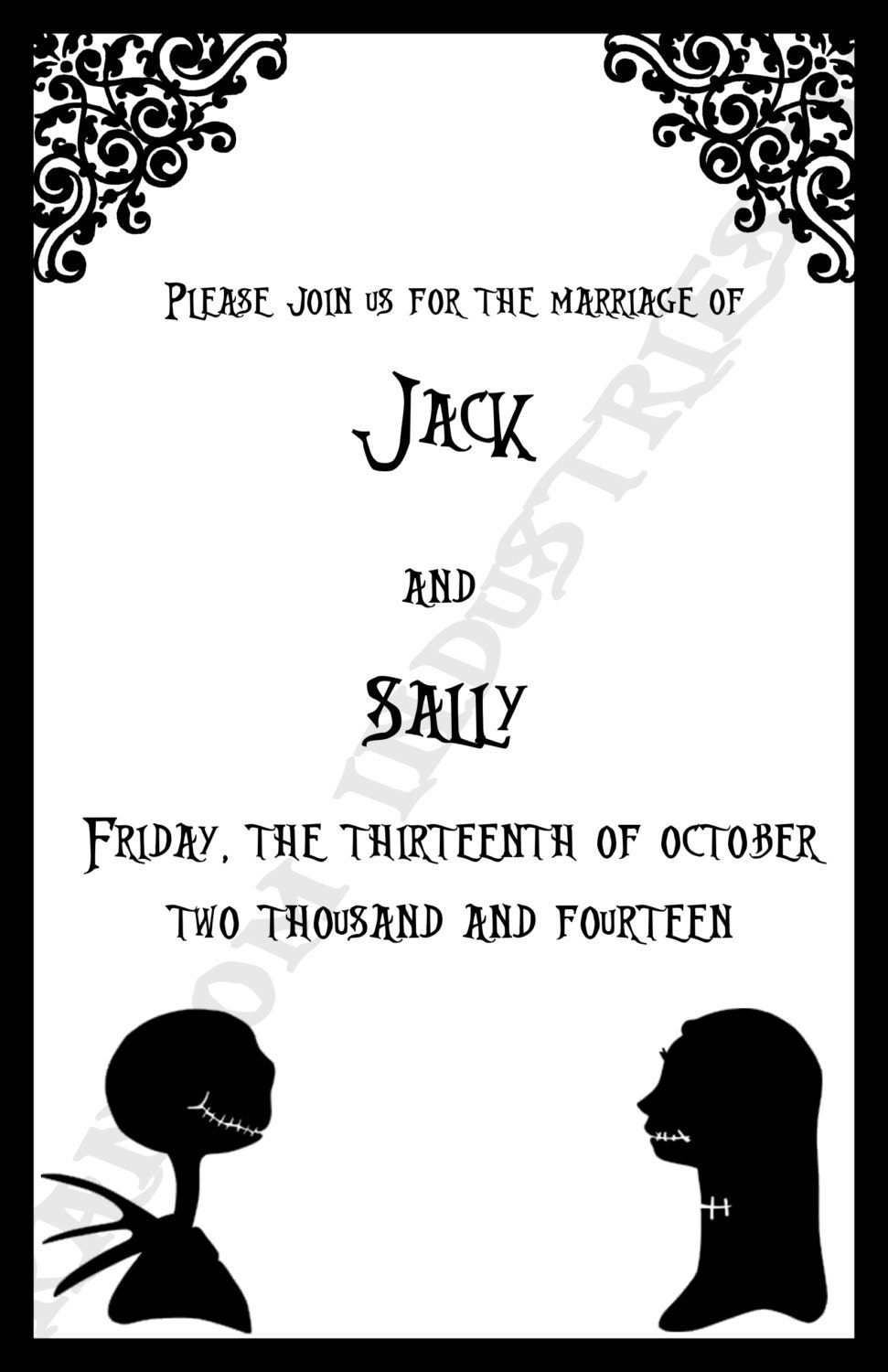 Nightmare Before Christmas Wedding Invitations was very inspiring ideas you may choose for invitation ideas