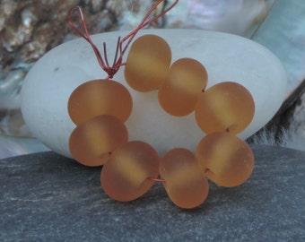 Lampwork spacer beads (8), Pale Amber etched - FHFTeam - GBUK member