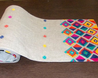 "Table runner, pure linen, multicolor embroidery, aztec, bohemian, peruvian runner, ethnic, size 14""X72"""