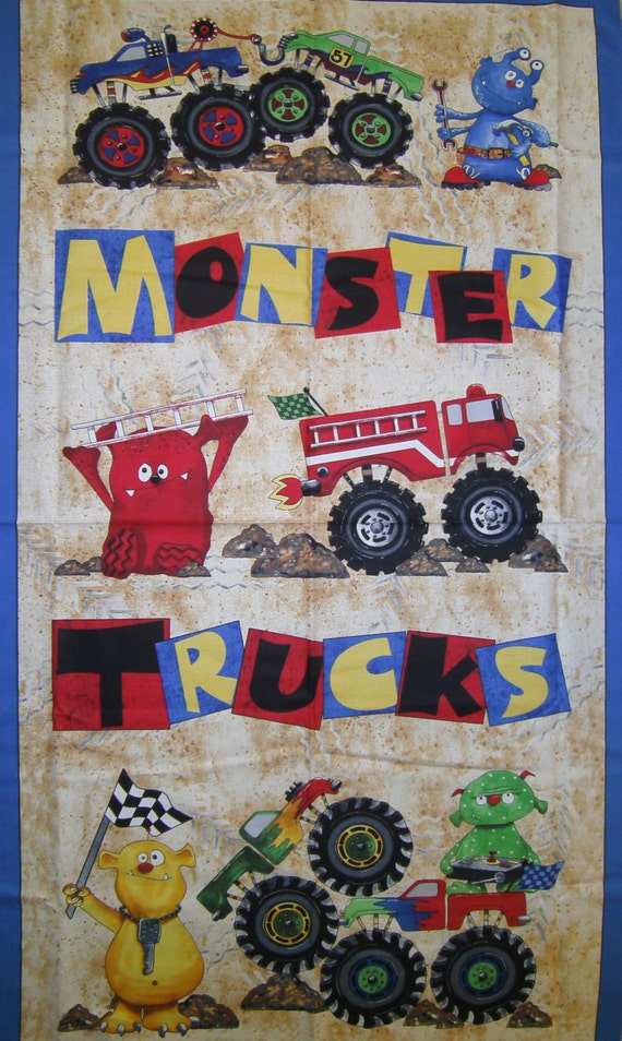 items similar to monster trucks fabric panel to sew on etsy