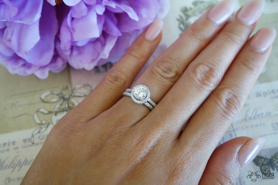 125 carat halo wedding set 6mm center stone bridal rings d color flawless - Halo Wedding Ring Sets