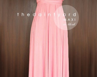 MAXI Blush Bridesmaid Dress Convertible Dress Infinity Dress Multiway Dress Wrap Dress Full Length Floor Length Dress Maid of Honor Dress