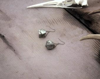 Pyrite Earrings - Raw Gemstone Jewelry -geometric earrings