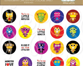 Monsters collage sheet, 1.5 inch circles for badges, magnets, clip art, printables, royalty free, commercial use. Instant download.