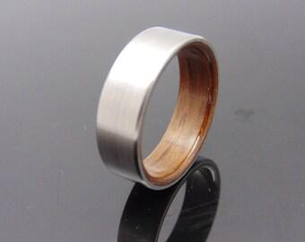 Wood and Titanium ring Bog Oak wood ring with Satin Titanium