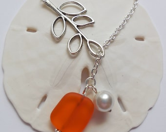 Orange Beach Glass,Tangerine Sea Glass Necklace, Charm necklace, Pearl, Silver Branch, bridesmaid necklace, beach wedding.  FREE US SHIPPING