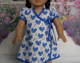 Bluebirds Wrap Dress fits American Girl Doll and 18 inch dolls