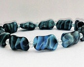 Blue Bracelet, Glass Beaded Bracelet, Blue Swirl Bracelet, Iridescent Blue Bracelet, Multi-Color Blue Bracelet