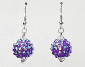 Disco Ball Earrings, Purple Earrings, Disco Earrings, Ball Earrings, Swarovski Crystals - Mysterydealmichelle