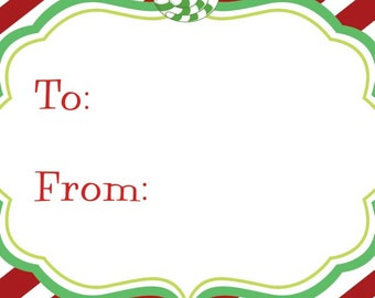 Red Diagonal Stripe with Green Peppermint Square Gift Tag