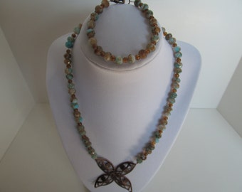 Blue/brown multi glass beaded necklace set, statement necklace,  trending jewelry