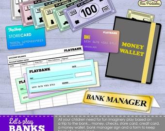 Printable bank set for children's pretend play