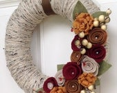 Fall Wreath, Autumn Wreath, Thanksgiving Wreath, Yarn Wreath, Felt Flower Wreath, Brown and Orange Wreath, Fall Decor, Door Decor