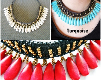 Necklace with Drop Tears, Antique Brass, Stone, Choker, Handmade, Thailand Jewelry. (JN1011)