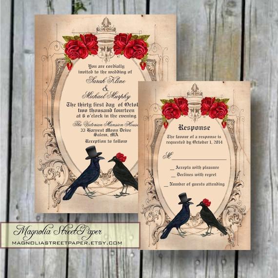 Printable goth wedding invitation by magnoliastreetpaper for Free printable gothic wedding invitations