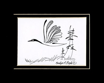 ORIGINAL INK DRAWING; free shipping, Canada goose, Canadian art, nature, art, wall art, 8 x 10 inch double mat, wall art, wings, feathers,