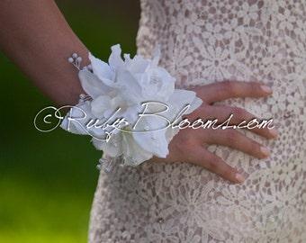 White Wedding Brooch Corsage. Pearls Bridesmaid bracelet. Heirloom Mother of the Bride corsage - Ruby Blooms Weddings