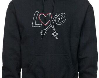 Hairstylist Sweatshirt/ Hairdresser Sweatshirt/ Rhinestone Hairstylist/ Hair Dresser Stylist Scissors Love Beautician Hoodie Sweatshirt