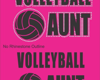Volleyball Aunt T Shirt/ Volleyball Aunt Shirt/ Volleyball Aunt Clothing/ Volleyball/ Vinyl Rhinestone Volleyball Aunt Short Sleeve T-Shirt