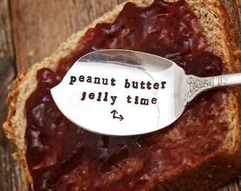 Jelly Spreader  - Jam Server - Peanut Butter Time - Vintage Silver Plated Silverware - Hand Stamped